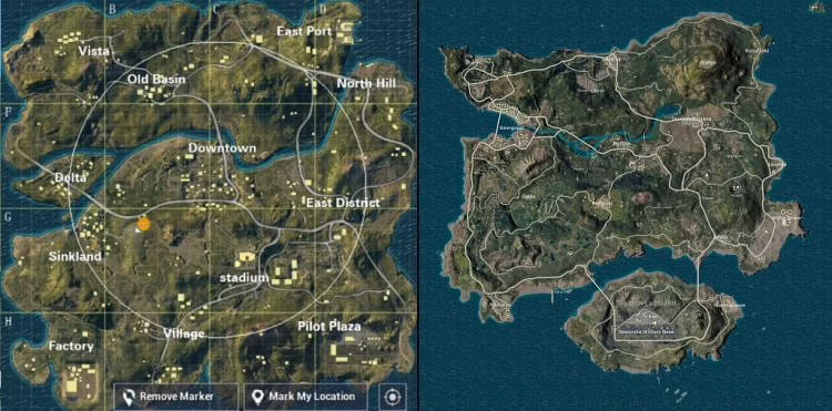 The two maps in PUBG Lite game