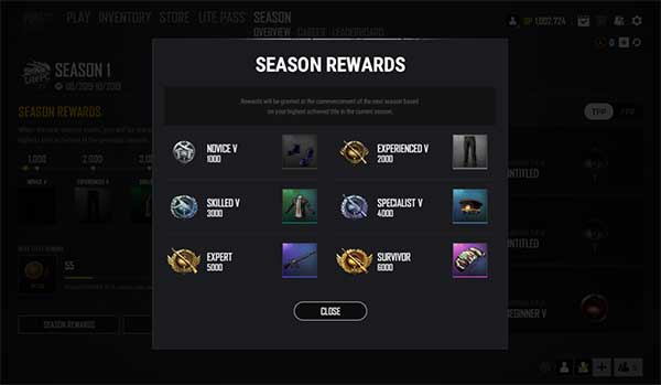 Rewards for the Survival Point System