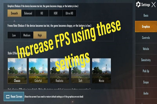 The better the settings are, the better the FPS will be in PUBG Mobile