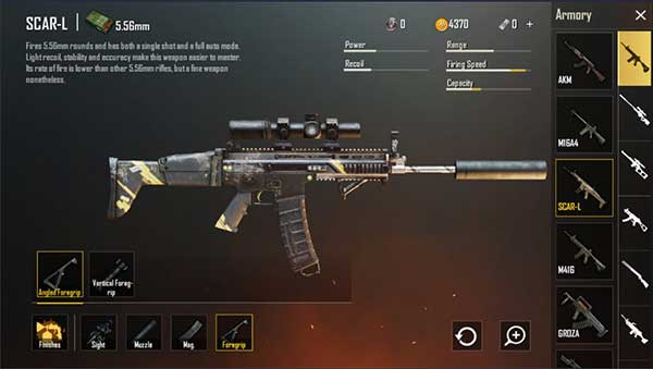 Scar-L supports many accessories for the player