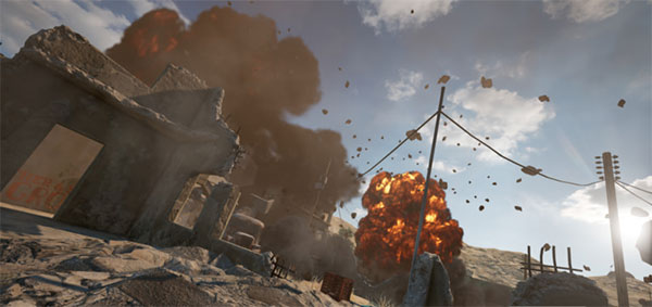 A destructive area in PUBG Mobile 1.3 - Demolition Zone